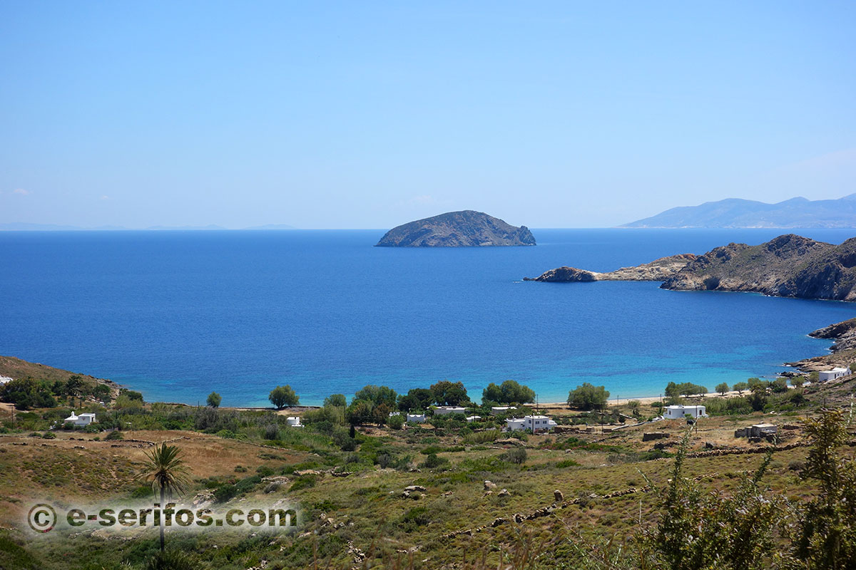 The beach of Agios Ioannis and the small island of Vous