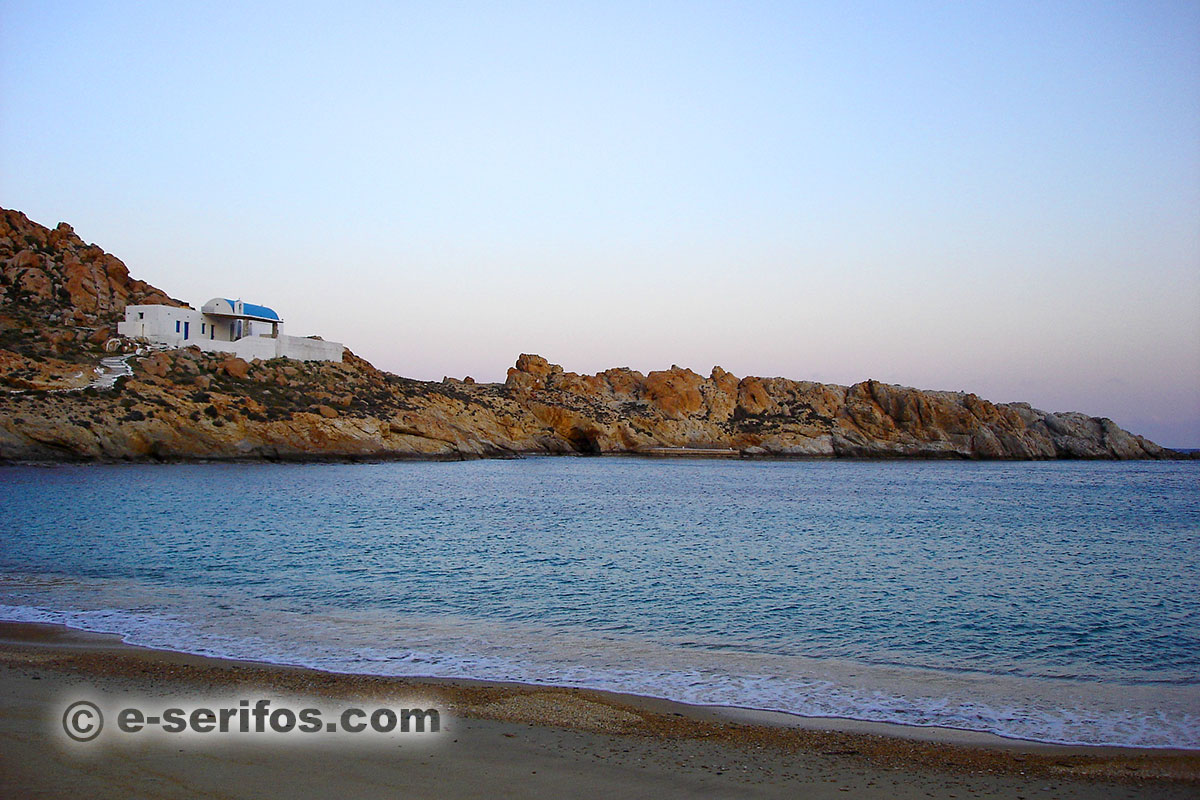 The beach and the chapel of Agios Sostis