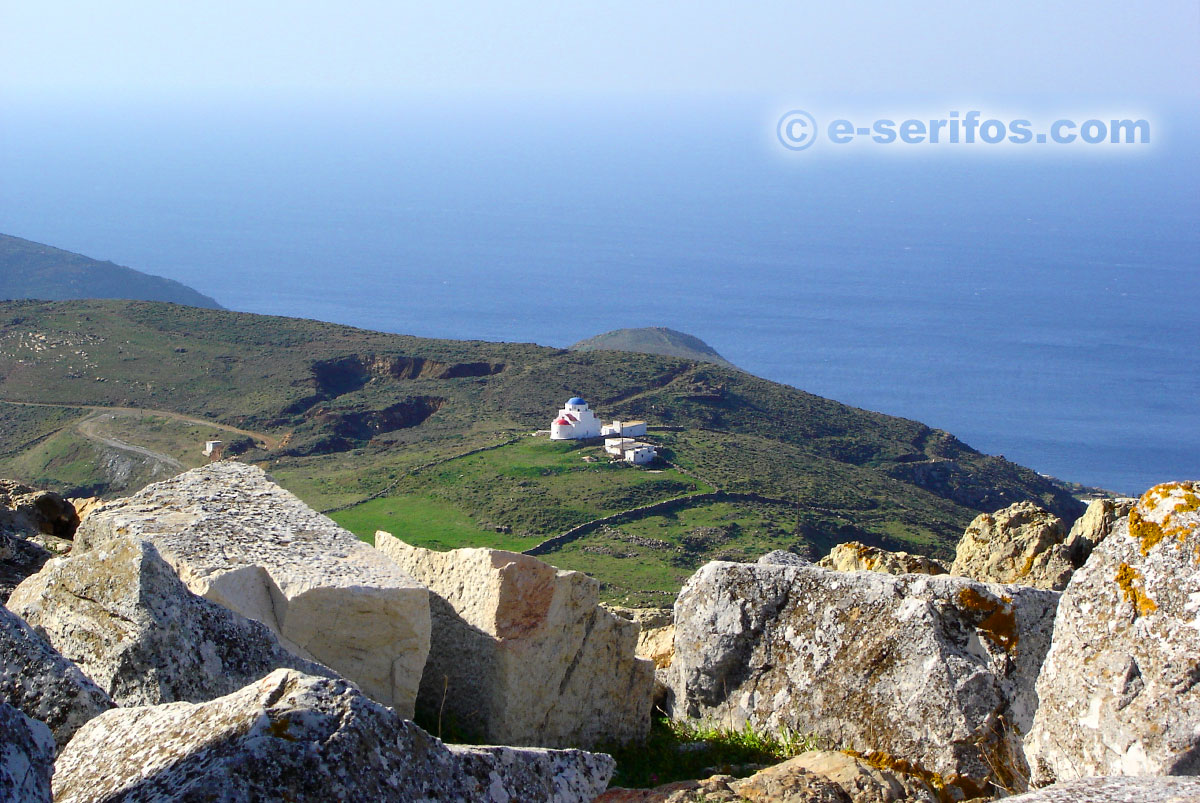 The chapel of Agia Triada as seen from Aspros Pirgos