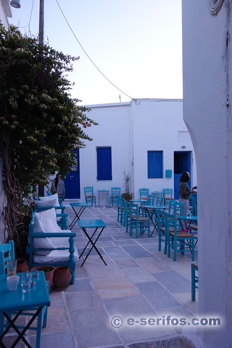 Traditional cafe in Chora, at the central square