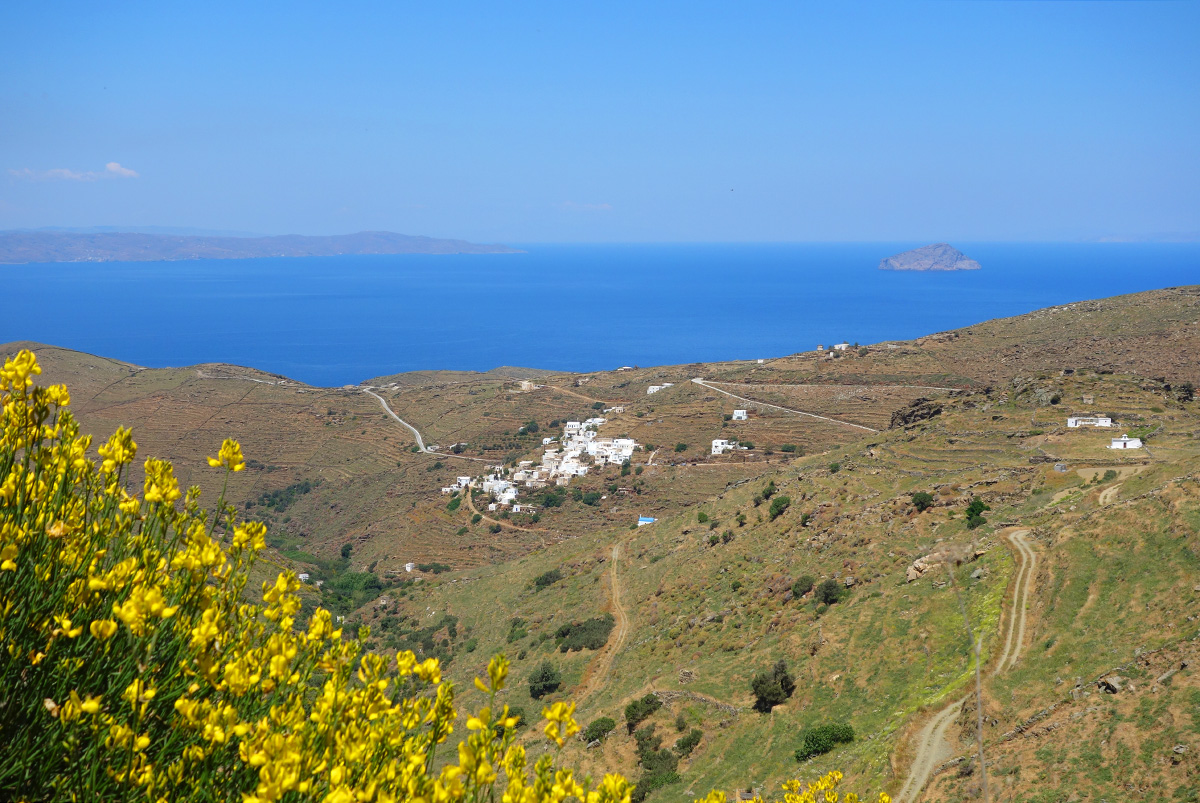 The village Galani in Serifos, in springtime