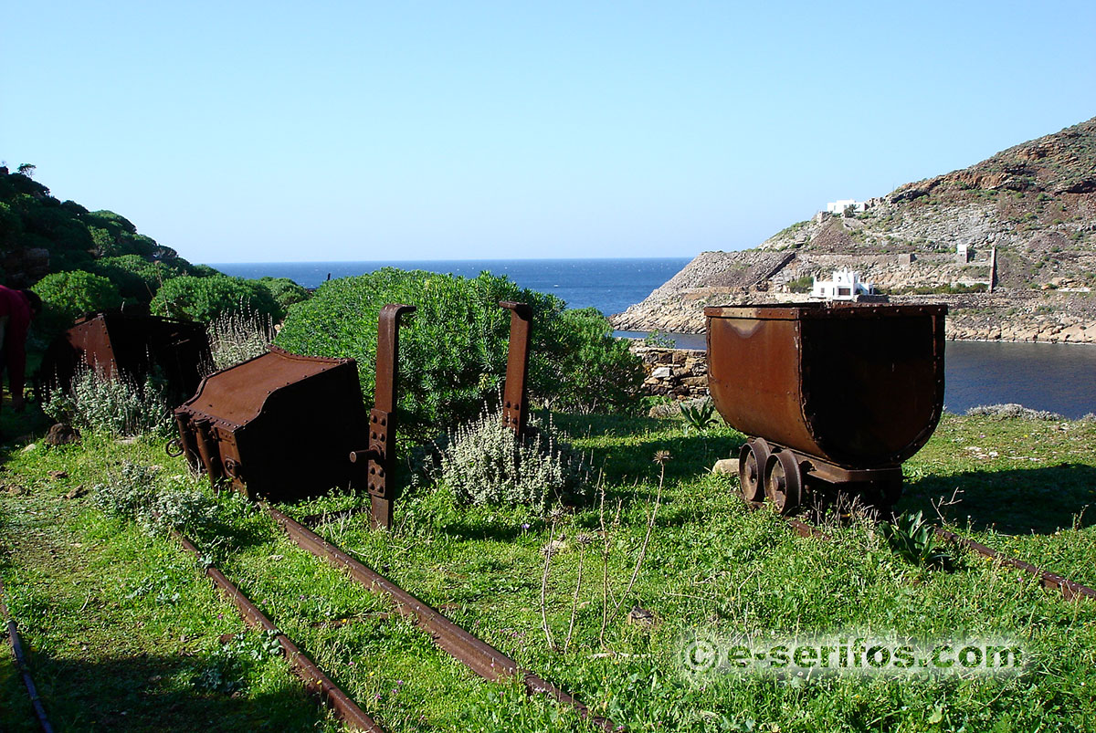 Abandoned vagons of the mines at Megalo Livadi