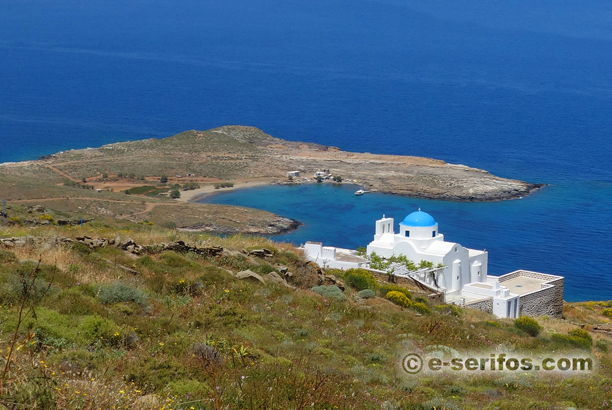 Panagia Skopiani and the beach of Platis Gialos